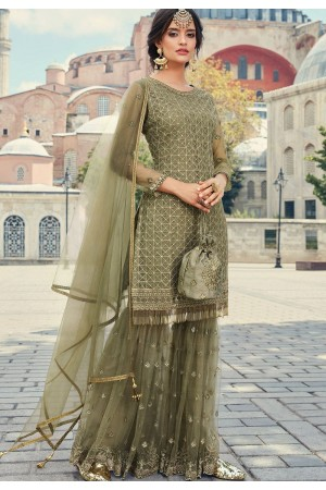 pastel green net embroidered sharara suit 79002