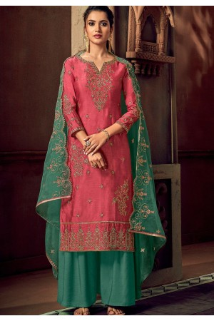 pink art silk embroidered straight palazzo suit 3106