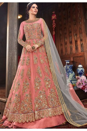 pink net embroidered lehenga style anarkali suit 6103a