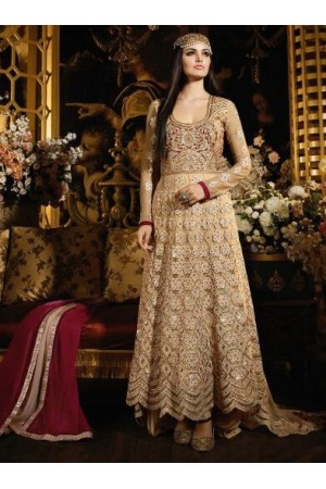 Beige and maroon color net banarasi and rasal jacquard trail pattern party wear anarkali suit