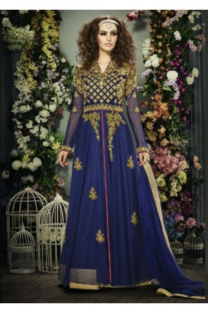 Blue color banglori silk party wear anarkali suit