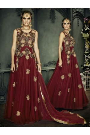 Maroon color netted gown type party wear anarkali suit