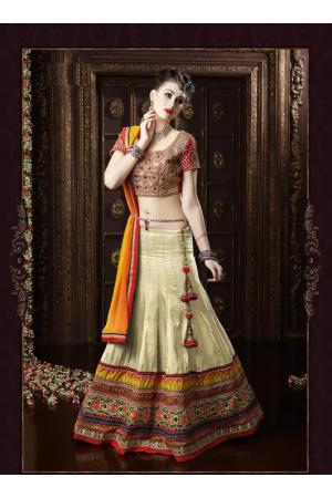 Astounding Cream Patch Border Work Banarasi Silk A Line Lehenga Choli