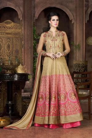 Beige color banglori silk party wear lehenga style anarkali suit