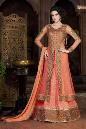 Peach color georgette and net party wear lehenga style anarkali