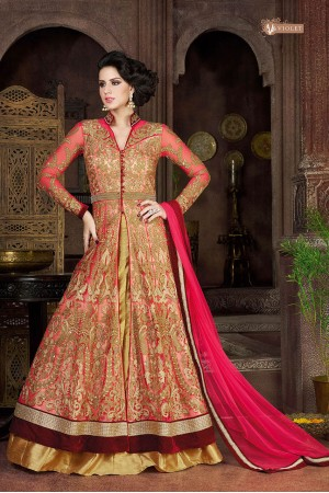 Peach color net party wear anarkali suit
