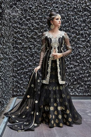 Black color georgette and net party wear anarkali suit 2 in 1 style