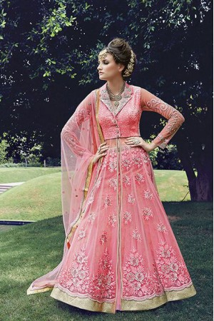Pink color georgette and net party wear lehenga style anarkali suit 2-in-1 style