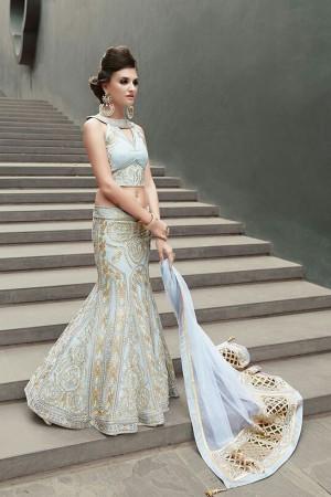 Sky blue color georgette party wear lehenga choli 2-in-1style