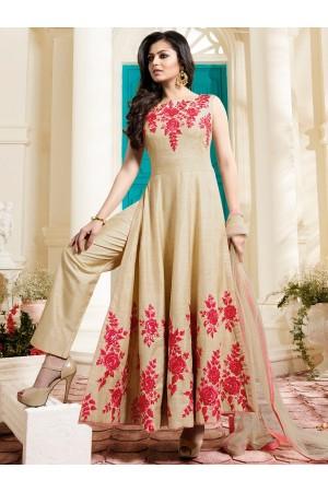 Drashti Dhami beige color italian silk party wear anarkali kameez