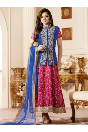 Drashti Dhami pink color bangalori silk party wear anarkali kameez