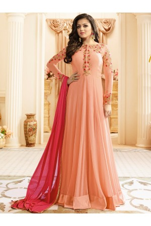 Drashti Dhami peach color georgette party wear anarkali kameez