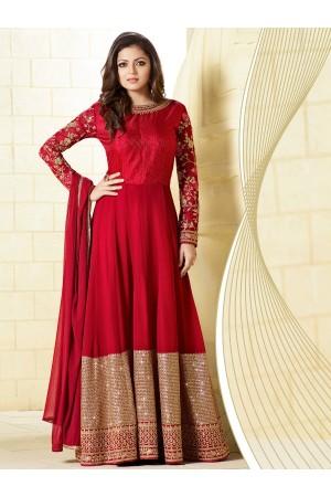 Drashti Dhami Red color georgette party wear anarkali kameez