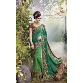Party-Wear-Green-Heavy-Work-Saree