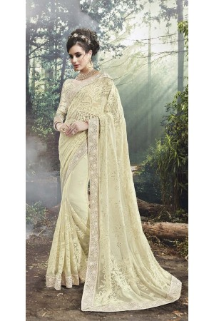 Party-Wear-Off-White-Grey-Heavy-Work-Saree