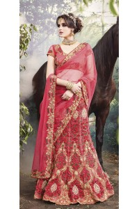 Party-Wear-Onion-Red-Heavy-Work-wedding lehenga