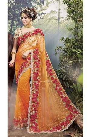 Party-Wear-Orange-Heavy-Work-Saree
