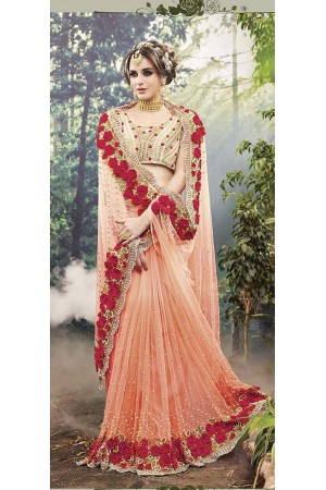 Party-Wear-Peach-Heavy-Work-Saree