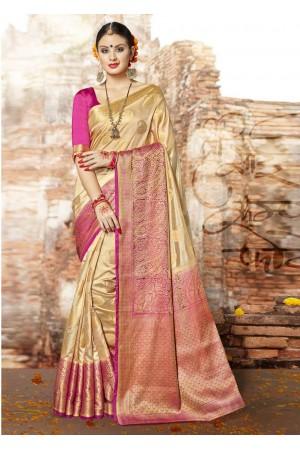 Beige Banarasi Silk Woven Festive Saree 3902