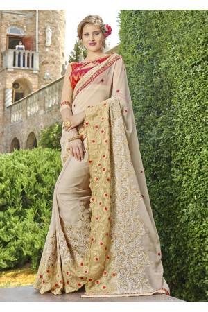 Beige Faux Georgette Embroidered Wedding Saree 4206
