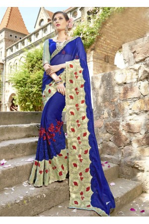 Blue Chiffon Embroidered Wedding Saree 4207