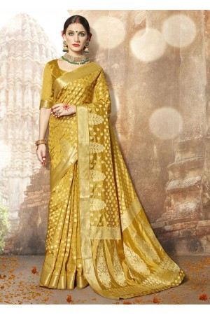 Golden Banarasi Silk Woven Festive Saree 3905