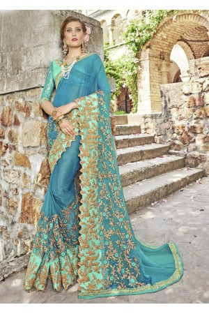 Green Chiffon Embroidered Wedding Saree 4202