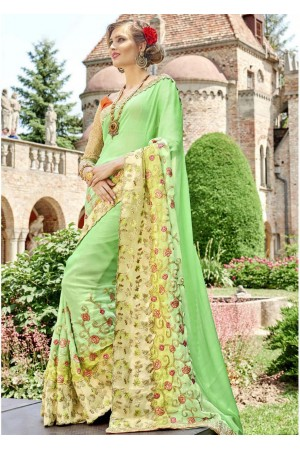 Green Faux Georgette Embroidered Wedding Saree 4211