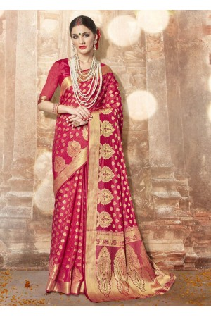 Magenta Banarasi Silk Woven Festive Saree 3908