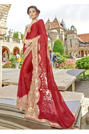 Maroon Chiffon Embroidered Wedding Saree 4210