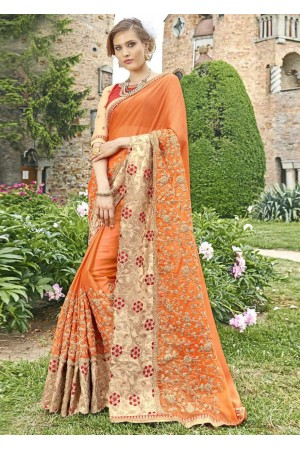 Orange Faux Georgette Embroidered Wedding Saree 4203