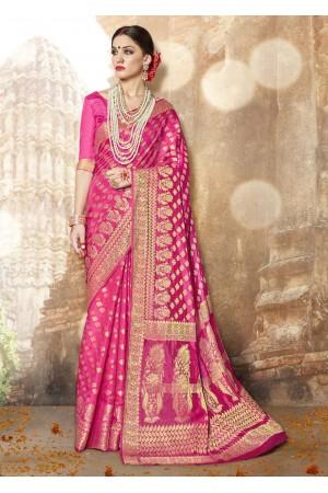 Pink Banarasi Silk Woven Festive Saree 3906