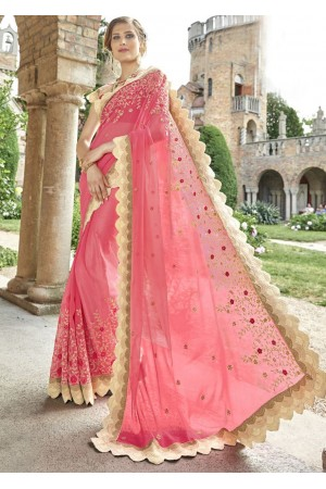 Pink Chiffon Embroidered Wedding Saree 4205