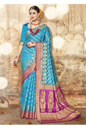 SkyBlue Banarasi Silk Woven Festive Saree 3907