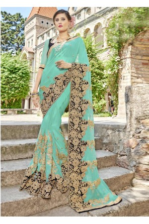 SkyBlue Faux Georgette Embroidered Wedding Saree 4209