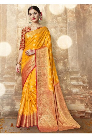Yellow Banarasi Silk Woven Festive Saree 3901