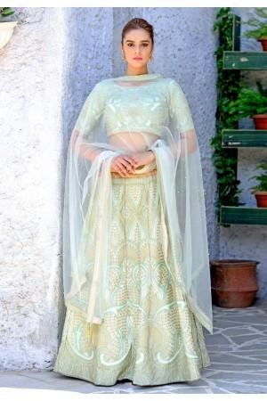 Mint green silk Indian wedding lehenga choli