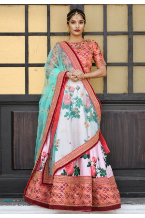 Pink color silk Indian wedding lehenga choli