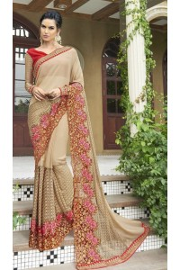Party-wear-beige-color-Georgette-saree