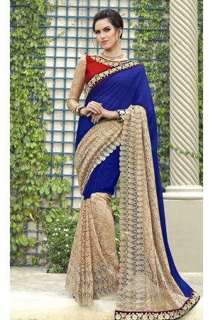 Party-wear-blue-color-Georgette-saree