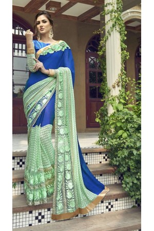 Party-wear-blue-2-color-Georgette-saree