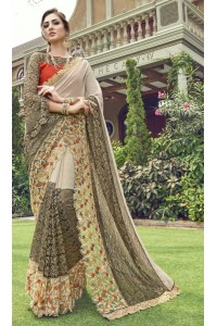 Party-wear-cream-color-Georgette-saree