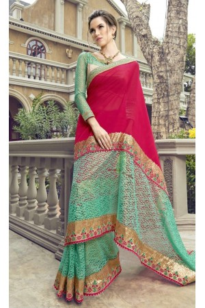 Party-wear-green-color-Georgette-saree