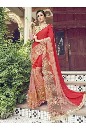 Party-wear-red-color-Georgette-saree
