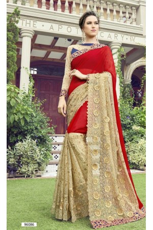 Party-wear-red-2-color-Georgette-saree