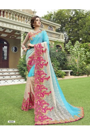 Party-wear-skyblue-color-Georgette-saree
