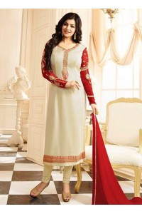 Ayesha Takia Cream Georgette Straight Suit 25108
