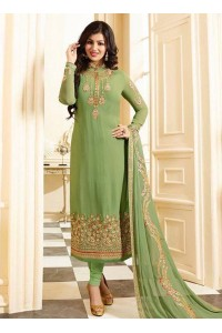 Ayesha takia green georgette straight suit 25103