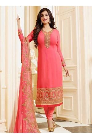 Ayesha takia pink georgette straight suit 25106