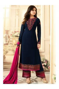 Drashti Dhami navy blue semi stitched embroidered suit 1802